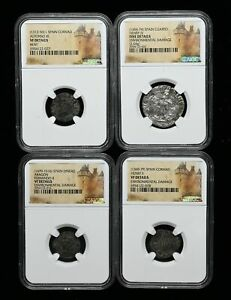 Lot of 4 NGC Certified coins from Medieval Spain, Portrait types