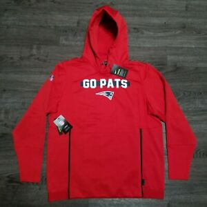 NEW ENGLAND PATRIOTS NIKE Sideline DRI-FIT Hoodie Mens LARGE Red Jacket On field