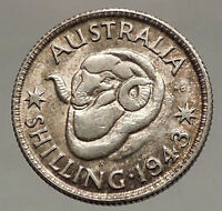 1943 AUSTRALIA King George VI of United Kingdom Silver Shilling Coin RAM i57111