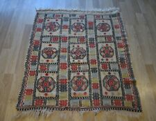 Vintage Handmade Anatolian Sofra Jijim Geometric Kilim 4Ft X 4Ft Free Shipping
