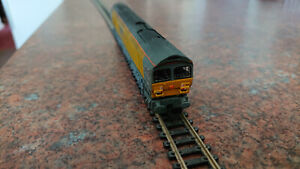 N Gauge class 59 (kit built) locomotive in ARC livery on Graham Farish chassis.