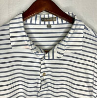 Peter Millar Mens Sz XL White Striped Summer Comfort S/S Golf Polo Shirt EUC!