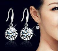 925 Sterling Silber tropfen Ohrringe Kristall Zircon Damen edlen Schmuck Trend.