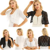 Womens Floral Lace Bolero Shrug Half Sleeve Chiffon Cardigan Top Crop Top Shawl