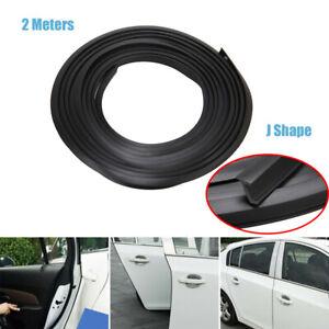 2M Black J Shape Rubber Car Door Edge Seal Guard Molding Trim Protectors Strip