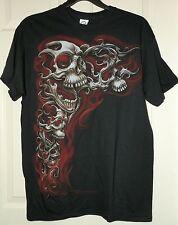 New Mens size Large 42-44 Skeleton T-Shirt Skull Black Red Halloween