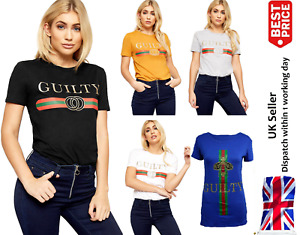 Womens Ladies Celebrity Slogan Guilty Casual Top Striped T-Shirts Plus SIze 8-26