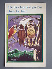 R&L Postcard: Comic, Inter-Art 432, Mike, Birds Don't Give Two Hoots for Owl