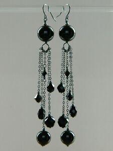 Alex Polizzi Style Long Earrings ~ Black Onyx, French Jet & Oxidised 925 Silver