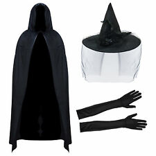 Deluxe Halloween Witch Hat & Veil with Hooded Velvet Cape & Elbow Length Gloves