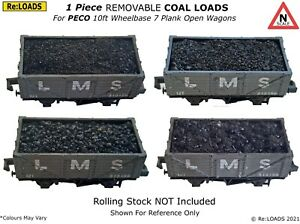 Removable 1 Piece COAL & COKE Loads for N Gauge PECO 10ft Open Wagons