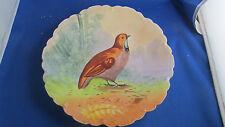 ancienne assiette decorative porcelaine peinte decor de perdrix
