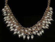 Beautiful Gold Tassel Pearl Drape Choker Statement Runway Necklace High Quality