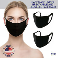 Face Mask Black Reusable 2 Pack Cover Cotton Double Layer Washable Protection