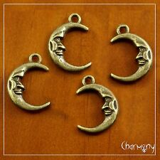 Antique Bronze Man in the Moon charms ~PACK of 4~ crescent face pendant bead