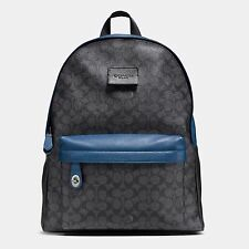 NWT Coach Campus Signature Coated Canvas Backpack F72051 Denim Charcoal
