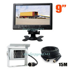 "12V-24V White 4Pin Car Reversing Camera + 9"" LCD Monitor Bus Truck Rear View Kit"