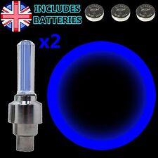 2x Blu Flash LED Lampada a Luce Al Neon Per Auto Bicicletta Ruota Pneumatico Valvola Tappo Antipolvere
