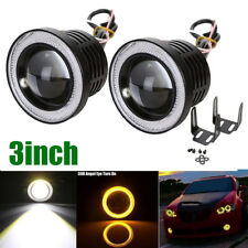 "2X 3"" 3200Lm Round Amber Angel Eye Halo LED Projector Fog Head Light Motor Car"