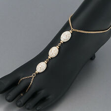 Gold Chain Finish Howlite Stone Toe Extension Bohemian Ankle Bracelet