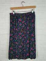 Vtg M&S St Michael Black Floral Button Front Skirt Size UK 14