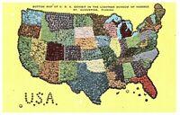 Button Map of USA, Lightner Museum of Hobbies, St. Augustine, FL Linen Postcard
