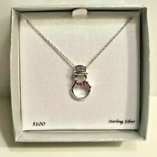Macy's Ruby & White Sapphire Snowman Pendant Necklace in Sterling Silver
