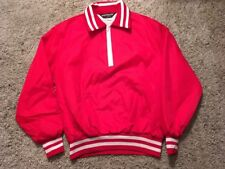 Vintage Mens Sportsmaster Red Nylon Windbreaker W/ 1/4 Zipper, Size M