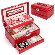 Jewelry Box Storage Organizer Case Ring Earring Necklace Mirror PU Leather Red