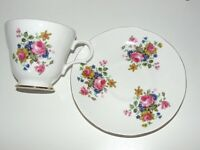 VTG Staffordshire Crown Trent Tea Cup & Saucer Fine Bone China Floral Footed