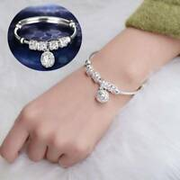 Women Silver Plated Beads Bell Pendant Adjustable Bracelet Bangle Gifts Jewelry