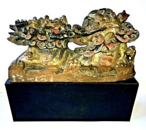 Chinese Carving Temple Dragon Lion Foo Dog Fu & Warriors Wood Antique Statue