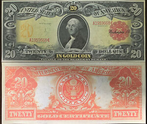 Reproduction George Washington $20 Bill Gold Certificate US Currency 1905 Copy