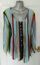 ❤ JOE BROWNS Size 18 Multi Stripe Long Blouse Top Button Up Sequin Detail NEW