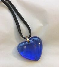 Authentic BACCARAT France Cobalt Blue HEART Coeur Crystal Pendant Necklace NIB !