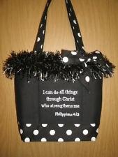 Christian Bible Verse Black/White Fringy Bible Holder/Handbag EUC