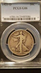 1921-D Liberty Walking Half Dollar * PCGS G06 * Key Date * 208,000 Mintage