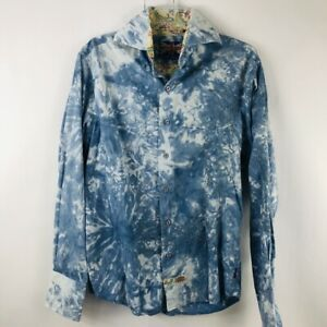 English Laundry Mens Tie Dye Contrast Flip Cuff Button Front Shirt Size S
