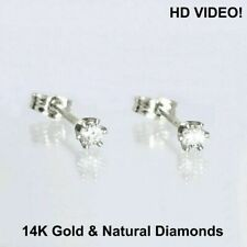 0.08 ct  Round Cut Diamonds Stud Earrings 14k White Gold NATURAL GEMSTONE