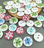 DIY 50-100PC Christmas Snowflake Wooden Buttons Sewing Clothing Accessories 15mm