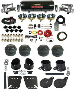 """Complete 3/8"""" Fast Valve Air Ride Suspension Kit 8 Gal Tank 1958-64 Chevy Cars"""