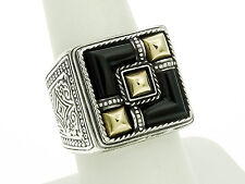 Konstantino Sterling Silver and 18K with Black Onyx Ring Size-8.50