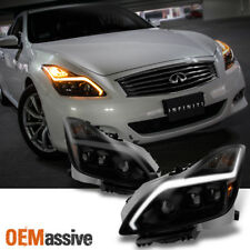 [Black Smoked]Fits 2008-2015 G37 / Q60 Coupe Sequential LED Projector Headlights