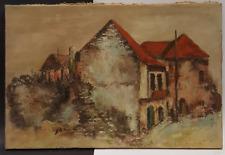 Antique Impressionism Oil Painting, Village Houses Scene, Signed Slot 40 x 60 cm
