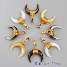 5Pcs Gold Plated Wire Wrap Crescent Multi-Kind Shell Pendant TWX021