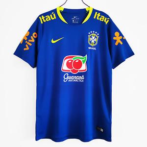 Retro Brazil Training Suit Blue Men Adult Football Jersey