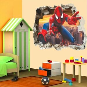 3D Effect Hero Spiderman Through Wall Stickers For Kids Room Wall Art Decor