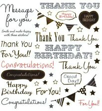 Gold Foil Text Birthday Thank You Cardmaking Stickers Planner Scrapbooking Craft