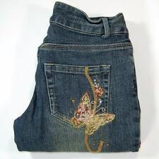 JouJou Women Jeans Flare Leg Butterfly embellished Blue Mid Wash Size 7/8