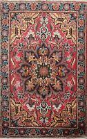 Semi Antique Geometric Heriz Hand-knotted Area Rug Wool Oriental RED Carpet 4x5